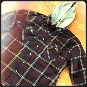 Mens Flannel Shirt Jacket With built in Hoody